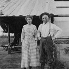 "John D. ""Bud"" and Daisy Whitney probably at their homestead, which stood near the Boniface Parkway entrance to Fort Richardson, near Ship Creek."