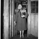 Lorene Harrison in the doorway of the Anchorage USO during World War II.