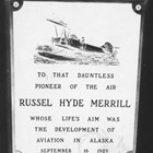 A plaque commissioned by the Anchorage Woman's Club and installed in the concrete base of the beacon they had built at Merrill Field.  The Merrill memorial beacon was formally dedicated at Merrill Field and presented to the City of Anchorage on September 25, 1932.